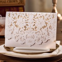 Wholesale Horizontal Laser Cut Wedding Invitations Cards White Embossed Flower Paper Cardstock with Envelope Sealwishmade