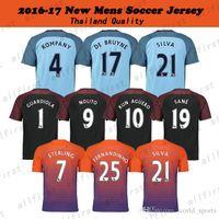 16 17 Jersey de fútbol de Jersey de los hombres Manchester Tailandia # 10 Jerseys # 19 del fútbol de KUN AGUERO SANE GUNDOGAN ATERLING NOLITO Ciudad Uniformes del fútbol