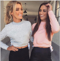 Wholesale 2016 Autumn Tracksuit Warm lace up Women hoodie sweatshirt Pink Gray casual short jumper pullover long sleeve crop top
