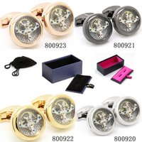 Wholesale Multicolor Tourbillon Cufflinks Golden Cuff Links for Mens Birthdays Gift