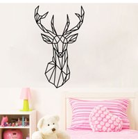 Wholesale Geometric Deer Head Wall Sticker PVC Modern Home Decor Geometry Animal Series Decals D Wallpaper for Sitting room Bedroom