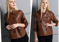 Wholesale 2016 new pu leather shorts women short section of the windbreaker coat straight thin thin sleeve shirt collar