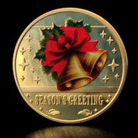 Wholesale New year Christmas Santa Claus Bell gifts color Plated Coins Crafts Present Gift