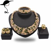 Wholesale fine women necklace fine jewelry sets best quality african big jewelry sets wedding costume african jewelryhave colors JT1318