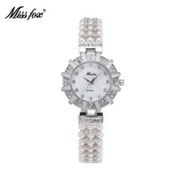 adorn designs fashion - Miss Fox Hot Sales Orignal Design Luxury Tribute To Classic Retro Lady Watches Arrival Fashion Pearls Adorned With Diamonds Wristwatches