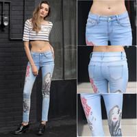 Wholesale Sexy Slimming Women Printed Pencil Jeans Casual Stretch Denim Mid Waist Full Length Slim Fit Skinny Woman Elastic Pants