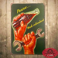 art sign works - Pause work refresh Vintage Retro Tin Sign Funny Humour Garage art Metal Poster
