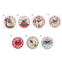 Wholesale Decorative Wall Clock Saat Quartz Mute France styles Wooden Retro Colourful Country Tuscan Home Coffee Shop Bar Decor parede Klok