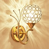Wholesale Modern Bedside Wall Lamp Stainless steel Crystal Wall Lights Sconces Night Light for Pathway Staircase Bedroom Lamp