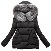 Wholesale New Winter Women Jackets Cotton Full Sleeve Covered button with pocketswomen Hat with Feathers Ultra Light Down Jacket A023
