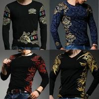 best designers shorts - Best Quality European designers cool tops men s fashion Gilded design O neck long sleeved printing slim bottoming Cotton Tees men shirt