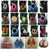Wholesale 50pair Mixed styles Wooden Wood Water Drop Hoop Leaves Fashion Women Earrings Promotion