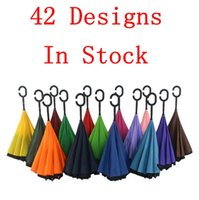 Wholesale 42 Styles Creative Inverted Umbrellas Double Layer With C Handle Inside Out Reverse Windproof Umbrella Long Handled Umbrella OOA1366