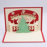 Wholesale Christmas gift card Stereoscopic d Santa card Creative birthday gift Card paper carving art the New Year holiday gifts