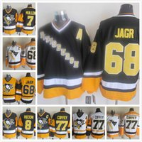 achat en gros de joe jaune-Throwback Pittsburgh Penguins 68 Jaromir Jagr 77 Paul Coffey 7 Joe Mullen 8 Mark Recchi noir Blanc Jaune NHL Ice Hockey Jerseys