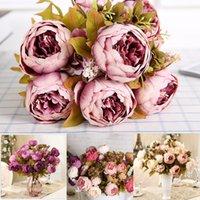 Wholesale 1 Bouquet Heads Vintage Artificial Peony Silk Flower Wedding Home Decor Design Flowers