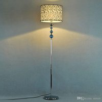 Blue Crystal Fabric Wohnzimmer Boden Lampen European Simple Study Zimmer Stehleuchte Schlafzimmer Leuchten