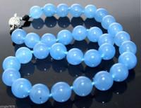 al por mayor nudo collar de jade-Collar de 20 pulgadas Collar de jade azul de 10 mm Collar de perlas de piedra preciosa anudada AAA