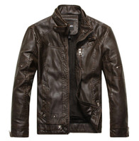 Wholesale Men Leather Jacket Men Motorcycle Leather Coat Outwear Fleece Linner Thick Stand Collar Black Brown Khaki