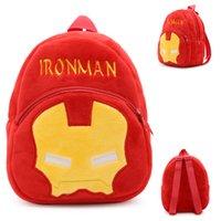 Animación de dibujos animados Super héroe Ironman peluche mochila de los niños de la escuela de la bolsa Mochila de jardín de infancia para 1-3 años de edad bebé niños