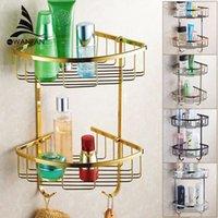 bathroom building materials - Wall Mounted Golden Brass Bathroom Soap Basket Bath Shower Shelf Basket Holder building material HJ