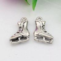 antique roller skates - Hot Sales Antique Silver Zinc Alloy D Roller skates Charms Pendants x17mm DIY Jewelry A