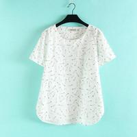 Acheter Imprimé floral t-shirts femmes-T-shirt de femme en gros de T2 d'été occasionnel plus les femmes de taille de taille Vêtements en manche courte T-shirts de coton en vrac en vrac