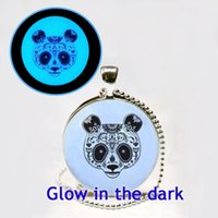 bears photos - Glowing Necklace Head of Panda Glow in the dark jewelry Bear Art Photo Glass Glowing Jewelry Glowing Necklace