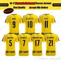 Thailand jersey soccer Baratos-16 17 Tailandia Mujer de calidad Borussia Dortmund Fútbol Camisetas DEMBELE GUERREIRO MOR M.GOTZE REUS AUBAMEY ANG PULÍSTICO KAGAWA Uniformes