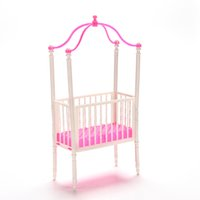 baby furniture sets - 1 Set Small Sweet Baby Crib For Barbie Girls Doll Furniture Kelly Doll s Kids Bed Doll Accessories cm cm cm