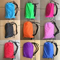 Wholesale 240 cm Fast Inflatable Lazy bag Air Sleeping Bag Camping Portable Air Sofa Beach Bed Air Hammock Nylon Banana Sofa Lounger