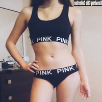 Wholesale Pink Letter Print Sports Underwear Bralette and Panties Piece Set Crop Top and Bikini Shorts Bra Briefs Sets Tank Tops Sport Tracksuits