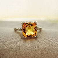 Cheap Luxurious 925 silver engagement ring Emerald Cut natural 2ct brilliant citrine wedding ring 925 Solid Sterling Silver jewelry