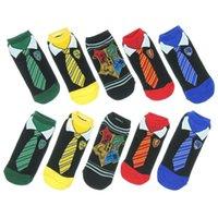 al por mayor lazo del tobillo-Envío Gratis 5 pantalones unisex diseño calcetines Soft Casual Invisible Harry Potter Tie patrón algodón caracteres calcetines calcetines de Harry Potter tobillo