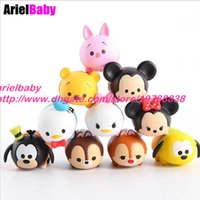 5-7 Years Multicolor Mickey New 10PCS Tsum Mickey Stitch Minnie Daisy Donald Bear Duck Goofy Mini Figure Toys Solid Doll Stacked Fun Gift Collection