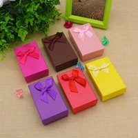 Jewelry Boxes ring,earring ,necklace box paper + silk Wholesale 48 Pcs  lot cuboid Necklace Ring Earring Jewelry Box Gift Present Case Holder Set Cheap Silk Bowknot Pink Paper Jewelry Gift Box