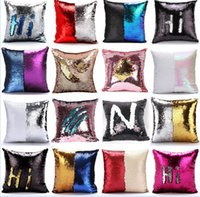 Wholesale Sequin Pillow Case cover Mermaid Pillow Cover Glitter Reversible Sofa Magic Double Reversible Swipe Cushion cover design KKA983