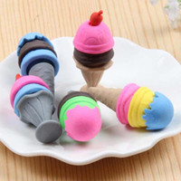 Wholesale New Cute Colorful Ice Cream Shape Pencil Eraser Christmas Gift Office School Supplies Creative Rubber Prize Eraser