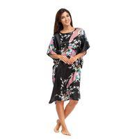 batik kaftan - Black Women s Robe Gown Chinese Style Printed Nightgown Yukata Kimono Kaftan Gown Peacock Sleepwear one Size LGK A2
