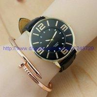 El mejor reloj del reloj de oro de la manera de la calidad 2017 de Ginebra NUEVO reloj análogo del cuarzo del acero inoxidable de la mujer completa