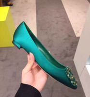 Wholesale Blue The Legend of The Sea A Green Rhinestone Square Buckle Flat Shoes Women Suede Shallow Mouth Pointed Women Flats