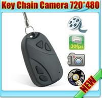 achat en gros de porte-clé appareils photo numériques-MINI espion voiture clé caméra cachée 808 KeyChain numérique came chaîne DV DVR caméra web caméra enregistreur vidéo Livraison gratuite