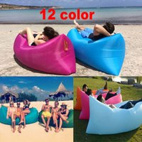 Wholesale Fast Inflatable Sofa Camping Sleeping Bag Banana Lazy Chair Nylon Hangout Air Beach Bed Chair Couch Lay Bag Travel Bed Free DHL WX P06