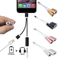 Wholesale 2 in Charge and Audio Iphone Earphone Headphone Jack Adapter Connector Cable mm Female Headset Connector Cord