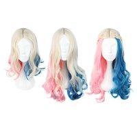 Sentirse bien pelucas de dibujos animados mujeres cortas de color rosa con largas colas de caballo Cosplay Split Type