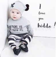 Wholesale 2016 Sale Limited Unisex Long Baby Girls Boys Clothing Sets Toddler Infant Newborn Suit Tops Pants Hat Outfits Sweatshirt Kids Clothes
