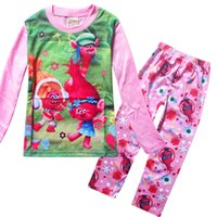 Wholesale 2016 autumn new style new cotton baby pajamas cute character children Trolls pyjamas kids baby clothing