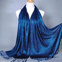 Wholesale New Fashion Plain Shimmer Glitter Winter Mulsim Wrap Viscose Lurex Long Shawls Muslim Hijab Scarves Women Scarf