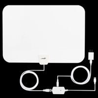 achat en gros de amplificateur de signal de puissance-USA Dispatch White TV Antenna, Prestige Indoor Amplified HDTV Antenna 50 Mile Range avec Amplificateur détachable Signal Booster, USB Alimentation