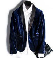Wholesale Women velvet blazer with one button winter outwear blue green